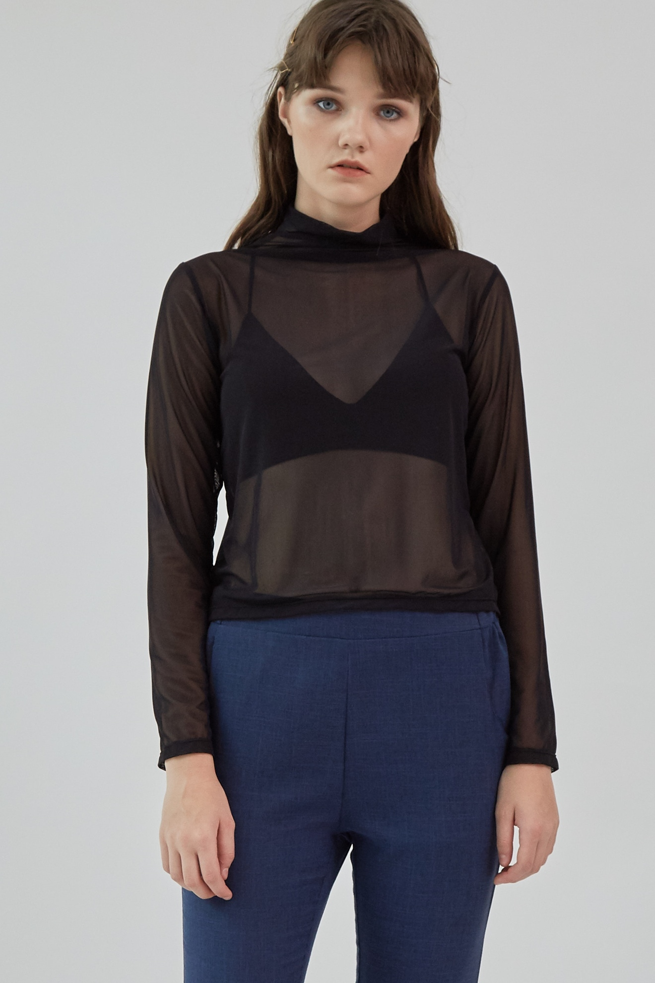 Picture of Monic Mesh Top Black